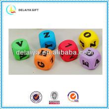 colorful EVA foam letters of an alphabet dice for children