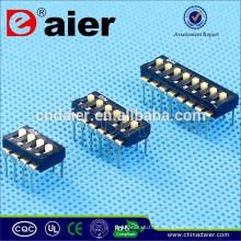 Daier 1 ~ 12 posição preto plástico IC tipo dip switch