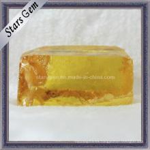 Materia prima de la piedra preciosa de Zirconia cúbica amarillo oscuro