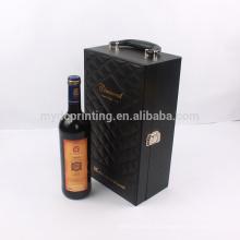 Personnalisé poignée portable vin cadeau emballage pu pu boîte en cuir