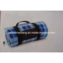 Portable Polar Fleece Travel Picnic Blanket with Embroidery for Promotion