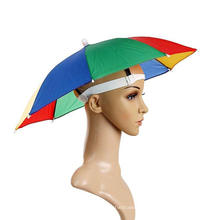 Factory Direct Sales Customized Logo Printed Clear Umbrella Hat for Adults and Kids Safe Polyester Mini Rainbow Head Umbrella