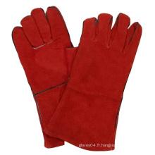 Red Cow Split Gants en cuir Soudage Gant de travail de sécurité