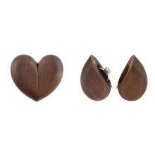 Almacenamiento de collar de pendiente de anillo de boda de madera en forma de corazón