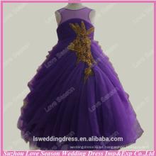 RP0091Factory hizo púrpura ruched los vestidos de partido de los cabritos del vestido de bola de la bola del organza