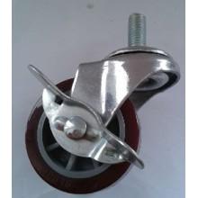 Light Duty Threaded Stem PU Caster com freio (vermelho)
