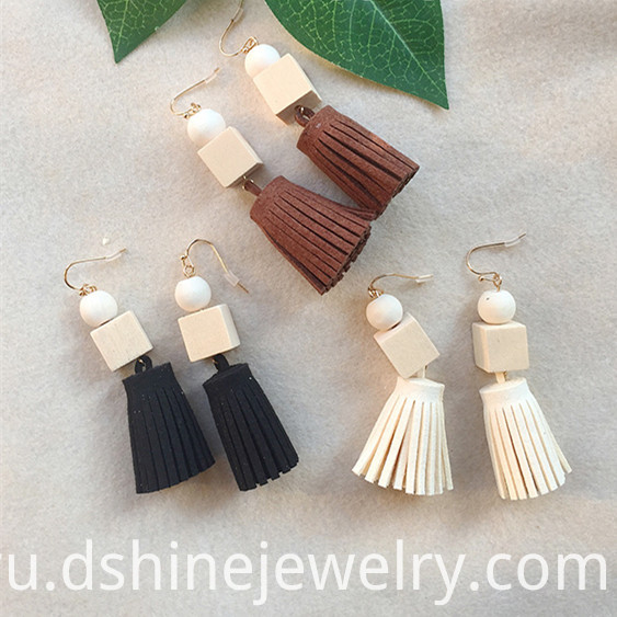 Korea Velvet Fabric Tassel Earring