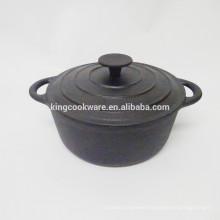 23cm Round black coating cast iron cocotte/casserole/pot/cookware