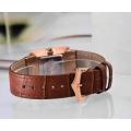 Rose Gold Stainless Steel Quarts Chronograph relógio de couro marrom para senhoras
