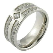La manera del hombre 925 plata esterlina micro pavimenta el anillo que fija
