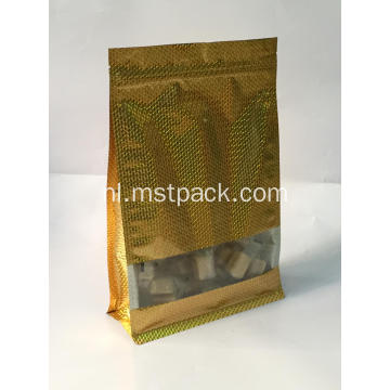 Gouden Flat Bottom Bag Met Clear Window