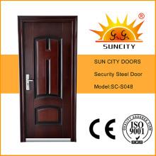 Iron Grill Door Designs Metal Door Skin Steel Door Price (SC-S048)