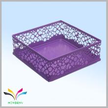 Cubo de malla de metal púrpura escritorio de oficina suministros organizador