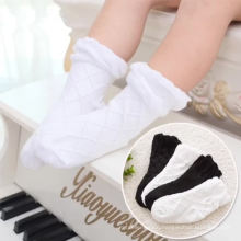 meias plain color white baby crew socks black baby girls socks cotton