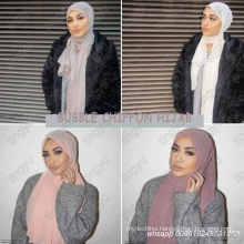 High quality headband beach popular summer solid color muslim hijab shawls plain bubble chiffon scarf