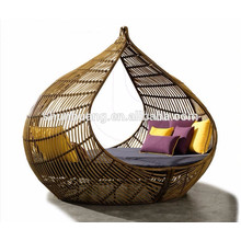 Promotional patio furniture wicker sofa bed leisure PE rattan lounger bed for garden