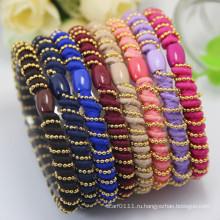 Леди роскошные спиральные металлические бусины эластичной веревки резиновые ободки (JE1582)