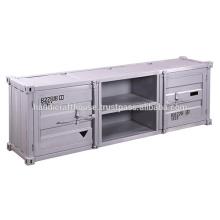 Industrial Vintage Container style 2 Door 2 shelf TV Stand