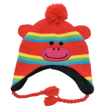 2019 new fashion acrylic lovely custom logo knitted hat for kids