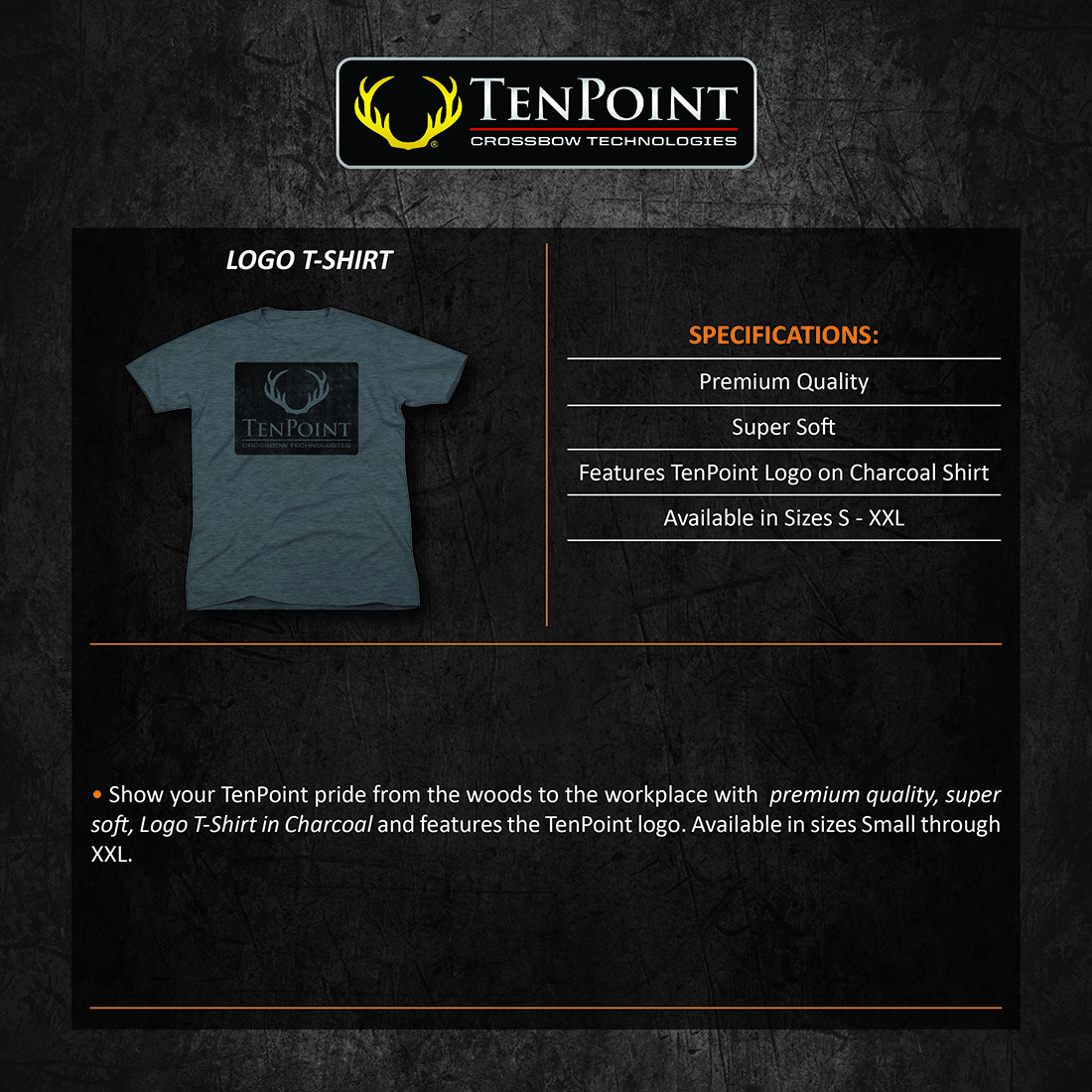 TenPoint_Logo_Tshirt_Charcoal_Product_Description