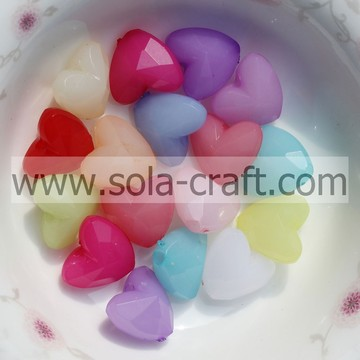 8*12*12MM Jelly Colorful Acrylic Crystal Heart Spacer Beads Pattern