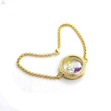 Wholesale Sale Stainless Steel Women Gold Floating Locket Bracelets Jewelry