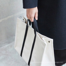 2021 New Design Fashion White Black Commuting Canvas Bags Tote Shopping Bag for Women