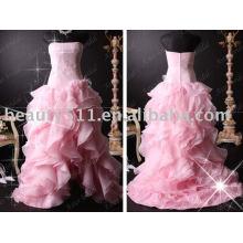 Satén popular elegante que rebordea el vestido de boda rosado de los vestidos nupciales RB066