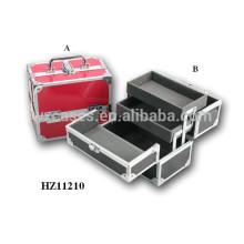 caixa de maquiagem de alumínio com 2 bandejas dentro do fabricante de China, com opções de cores diferentes