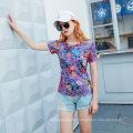 women print short sleeve loose casual top/t-shirt