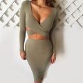 Moda OEM vestido senhoras manga comprida sexy bandagem Bodycon mini vestido