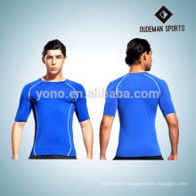 Manches courtes de l'homme bonnes chemises de compression élastique pour l'usure de gymnastique