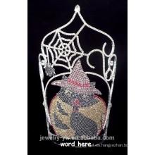 Arcilla cristalina de alta calidad y corona de Halloween del gato negro