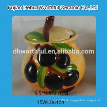 Handgemaltes Oliven-Design Keramik-Würze-Set