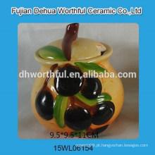 Handpainting azeitona design cerâmica condimento conjunto