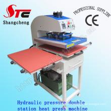 Große Format Hydraulische Druck Wärmeübertragung Maschine 50 * 60 cm Öldruck Doppelstation Transferpresse Maschine T Shirt Hydraulische Druck Wärme Druckmaschine