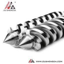Bimetallic extruder double screws barrel pvc pipe tornillo hussillo gemelo paralelo conico tuberia tubo ZHOUSHAN MANUFACTURER