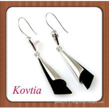 Boucles d'oreilles en alliage de zinc personnalisées en blanc et noir