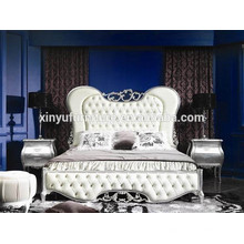 FOSHAN French style white leather bedroom furniture set BD8025