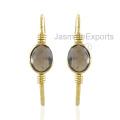 925 Silver Earrings, Smoky Quartz Gemstone 18k Gold Earrings For Women