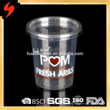 Disposable Custom Printed 200ml Clear PET Plastic Cup with Lid