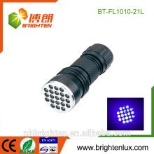 Vente en gros OEM Haute qualité Handheld Portable Inspection Ultraviolet en alliage d'aluminium 370-375nm Money Detector 21 uv lampe de poche