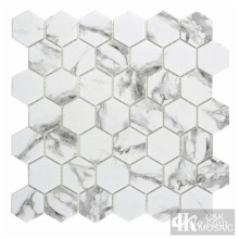 Ubin Backsplash Kaca Hexagon Glass