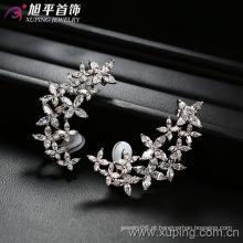 Brinco de luxo de zircão de flor de ouro de prata (28605)