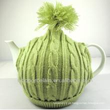 NOVO bule de porcelana com chapéu de tricô para BS140321