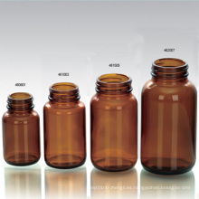 Botella de vidrio para tabletas, boca ancha