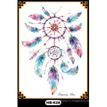 Tatouages de tatouage coloré de tatouage coloré de plume de tatouage de transfert de l'eau de type de plume