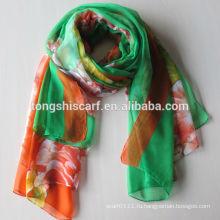 Полиэстер 2016 горячая распродажа женская шифон хиджаб напечатано длинный шарф шаль