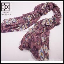 2015 Knitting Purple Flower Pattern Acrylic Scarves