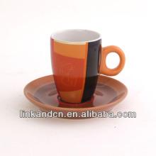 KC-03001 taza de té anaranjada grande de la calidad alta con el platillo, taza de café simple de la manera